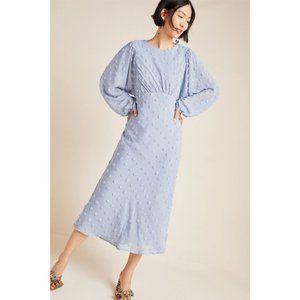 Anthropologie Michaela Textured Pom Pom Midi Dress